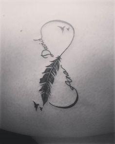 Infinite love #tattoo #tatuaje #ink #infinito #infinite #infinitetattoo #love #lovetattoo #pluma #birds #inkedgirl #tattooedgirl #tattoogirl #nombres #lettering #simbol #simboltattoo #cutetattoo #nicetattoo #lovely #lovelytattoo #littletattoo #tattooidea #tattooart #inkinyourskin #skin #drawing