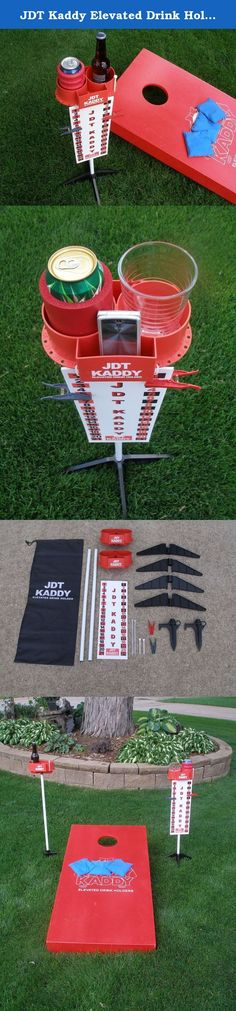 JDT Kaddy Elevated Drink Holders (Set of 2) - With Tournament Scoreboard. JDT KADDY was designed by avid bean bag players who were tired of continuously bending down for their drinks. The package includes a set of elevated, dual drink holders that can be used for many outdoor activities including yard games, tailgating, and camping. Two stand options are included to make the KOOZY KADDY adaptable to all surfaces. Included in the box: • 2 - White metal poles. • 2 - Dual cup holders with an...