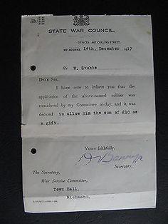 WW1 ANZAC SERVICEMAN  Mr W Stubbs of RICHMOND