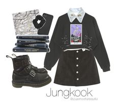 """""""☆ study work with Jungkook ☆"""" by youaremorethanbeautiful ❤ liked on Polyvore featuring AG Adriano Goldschmied, Go Stationery, Dr. Martens, Incase and Topshop"""