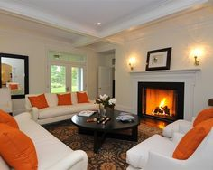 All Kinds Of Prefab Fireplace Design Ideas With Handsome Style And Design : Traditional Living Room With Convertible A Prefab Fireplace Burn. Prefab Fireplace, Fireplace Design, Fireplaces, Living Room Orange, White Couches, Ceiling Treatments, Entrance Decor, Modern Traditional, House Design
