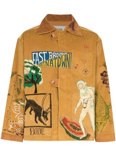 Shop online brown Bode illustrated boxy-fit corduroy jacket as well as new season, new arrivals daily. Style Rock, Cool Style, My Style, Designer Jackets For Men, Mexican Outfit, Corduroy Jacket, Comme Des Garcons, Cool Jackets, Apparel Design