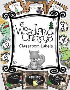 Woodland animals forest themed center, supplies, and number classroom labels Classroom Labels, Classroom Decor Themes, Classroom Design, Kindergarten Classroom, Future Classroom, Classroom Setting, Classroom Ideas, Kindergarten Worksheets, Classroom Organization