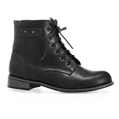 Avenue Montana Lace-Up Combat Boot found on Polyvore featuring shoes, boots, ankle booties, black, plus size, army boots, black booties, lace up ankle booties, combat boots and black lace up boots