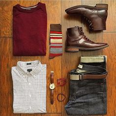 Great look by: @chrismehan The button down and red Shirt contrasts the brown boots nicely For more flat lays check out: @votrends #menfashion #menstyle #menwear #menswear #men #style #trend #clothing #springwear #springclothes #spring #outfit #outfits #outfitgrid #denim #colors #boots #bluepants #blogger #fashion #fashionstyle #fashionmen #dapper #amsco