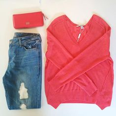 Distressed DL1961 Denim and Coral Autumn Cashmere #ShopMintAtl #DesignerConsignment l Call 404-343-2033 for sizes & prices