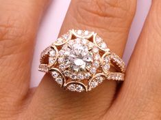 Engagement Ring - Victorian Halo Double Band Diamond Engagement Ring 0.96 tcw in 14K Rose Gold - ES1286RG