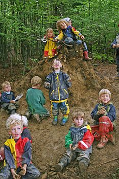 Forest kindergarden, the importance of children exploring in natural outdoor environments.