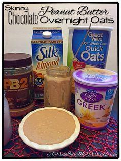 Skinny (No Cook) Chocolate Peanut Butter (PB2) Overnight Oats