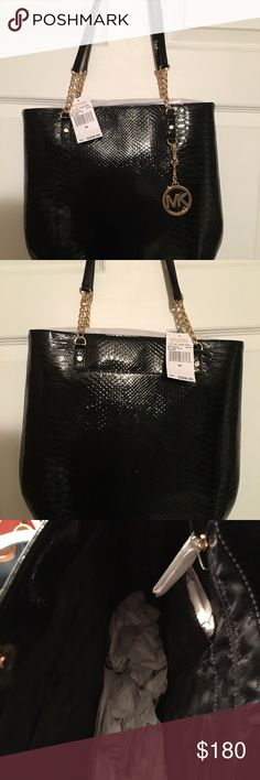 Brand New With Tag Michael Kors Jet Set Tote. 14 Lx 13.5 T x3 W. Michael Kors Jet Set Paten Leather Chain Tote. The original price for this is $268. It is embellished with the signature Gold chain. The measurements are 14 Lx 13.5 T x3 W. The inside has zip pocket and 4 cell phone size pockets. MICHAEL Michael Kors Bags Totes