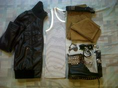 From left to right:  Black Zara Leather jacket  White with black stripes tank top from H  Super slim fit pants from BSK  Fossil Watch  Wayfarer sunglasses  Accesories from H  DIY boots