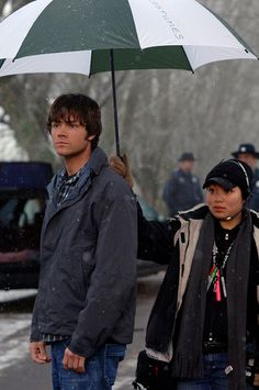 Supernatural | 45 Behind The Scenes Photos That You've Probably Never Seen Before<<<<< I love how he can't hold up his own umbrella