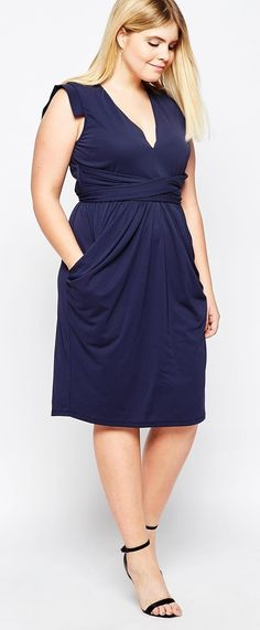 Plus Size Crepe Dress With Obi Wrap