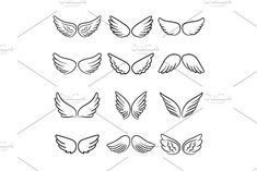 Ad: Cute angel wings set by Stock-Smart-Start on Cute angel wings. Cartoon angels wing set isolated on white background, angelic heaven flight decoration elements vector illustration Angle Wing Tattoos, Small Wing Tattoos, Dainty Tattoos, Cute Tattoos, Cartoon Angel Wings, Angel Wings Drawing, Alas Tattoo, Back Tattoo, Tatoo Angel