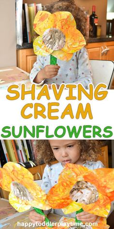 Shaving Cream Sunflowers – HAPPY TODDLER PLAYTIME