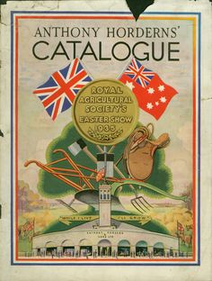 Cover of a catalogue with the English and Australian flags visable above a medal that says Royal Agricultural Society's Easter Show 1935