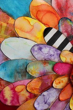 Make patterns on paper then cut petals. So pretty. Great watercolor project. These could be turkey feathers!