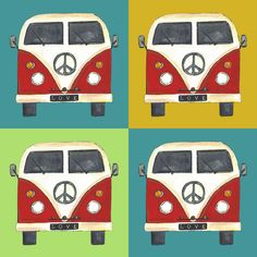 multi peace campers fabric by scrummy on Spoonflower - custom fabric Paper Scrapbook, Camper Fabric, Hippie Baby, Sleep Sacks, Volkswagen, Pattern Illustration, Gorgeous Fabrics, Custom Fabric, All The Colors