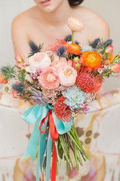 Photo: Mikkel Paige Photography; Color Inspiration: Stylish Turquoise and Teal Wedding Ideas - bridal bouquet; Mikkel Paige Photography