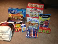 Supplies for making homeless care packages