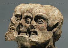Etruscan three-headed demon (terracotta fragment), 5th century BCE from Orvieto.      Staatl.Museen, Antikensammlung, Berlin