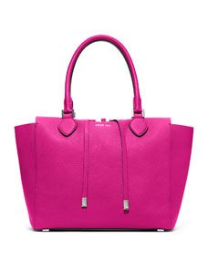 Michael Kors Large Miranda Grained Tote Pink grained leather