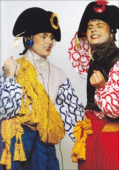 """Vivienne Westwood, The 'Pirate' collection 1981. """"She pulled from 18th century style dressing with romantic, flowing layers and loud flower hued prints."""""""