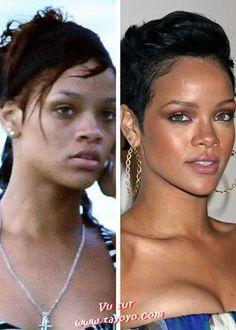 Photos de célébrités avec et sans maquillage.