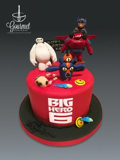 Big Hero 6 cake with Baymax, Hiro, Fred and the powers of other characters. All figures and decorations are made out of fondant. #bighero6 #bighero6cake #baymax Www.facebook.com/gourmetstrategist