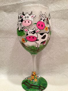 Cows hand painted glassware Www.Lizzymagsdg.com or like me on Facebook at www. Facebook/LizzyMagsDecorativeGlasses