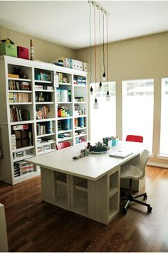 23 Craft Studios You'll Be Totally Jealous Of - big windows, storage, work space island