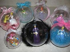 DIY Disney Christmas Ornaments! Also an awesome way to preserve little toys and make them into ornaments!