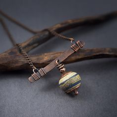 Lampwork glass bead necklace • matte stones • handforged copper • lampwork necklace • silver foil • copper chain necklace • rustic necklace by entre2et7 on Etsy