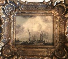 VINTAGE Jan van de Cappelle  A Shipping Scene with a Dutch Yacht firing a Salute  | eBay Dutch Painters, Fine Art Auctions, Vintage Frames, Vincent Van Gogh, Windmill, Painting On Wood, Art Boards, Impressionist, Scene