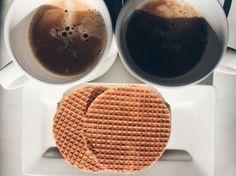 Sweet breakfast: coffee with milk and dutch caramel waffles