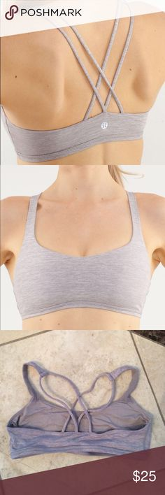 Lululemon free to be bra silver Free to Be Bra is made of luxtreme material-- breathable and moisture wicking. Mesh on the inside for extra comfort. Preshrunk. Comes with Removable bra cups. In great condition-- slight wear on the right underarm, as shown in the final image. For some reason this color ran a little bigger than most size 6 free to be bras. Not a whole size, but it does seem to fit slightly looser. lululemon athletica Intimates & Sleepwear Bras