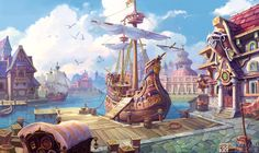 A wharf in mid-ages by Ecystudio.deviantart.com on @deviantART