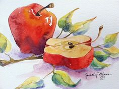 Original red apples handpainted watercolor by DakotaPrairieStudio, $24.00