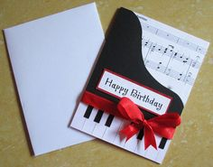 Piano Happy Birthday Card Music themed by DreamsByTheRiver on Etsy Great Birthday Wishes, Happy Birthday Music, 3d Birthday Card, Birthday Cards For Her, Happy Birthday Messages, Handmade Birthday Cards, Birthday Greeting Cards, Birthday Greetings, Tarjetas Pop Up
