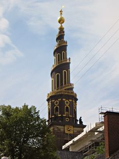 Tower of Church of Our Savior, Copenhagen, Denmark; by Ina T