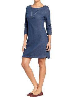 Women's Fleece Shift Dresses Size: Large, Color: Indigo