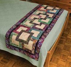 Garden Path Bed Runner from Keepsake Quilting 27 x 77 Table Runner And Placemats, Table Runner Pattern, Quilted Table Runners, Bed Runner, Small Quilts, Mini Quilts, Bed Scarf, Keepsake Quilting, Quilted Table Toppers