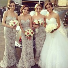 I love these bridesmaid dresses, I love how the neck lines match the brides.