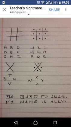 I took it to the next level - learned sign language alphabet. Wood son translate / decode THAT! Alphabet Code, Alphabet Symbols, Sign Language Alphabet, Phonetic Alphabet, Sign Language Words, Elf Language, Alphabet List, Word Symbols, Learn Sign Language