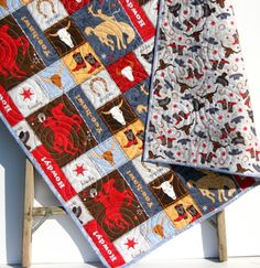 Western Quilt, Toddler Baby Bedding, Roping Cowboy Cowgirl Bucking Horse
