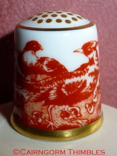 Red Aves China Thimble Royal Crown Derby Birds TCC