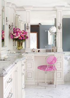 marble floor, marble vanity, grey wall color, pink accessories