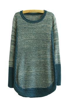 Blue O-neck Long Sleeve Sweater