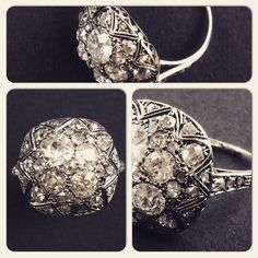 An art Deco white gold and diamond ring. Italy 1930 Pennisi Milano