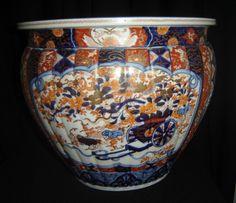 Antique Japan Meiji Large Imari Porcelain Fish Bowl Jardiniere Cache Pot Superb.